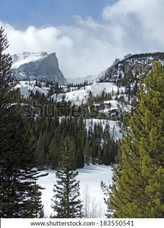 view hallett peak winter bear lake stock photo royalty. Black Bedroom Furniture Sets. Home Design Ideas