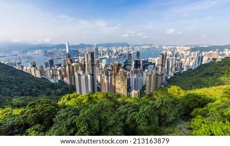 View of Hong Kong from Victoria Peak in Hong Kong, China. - stock photo