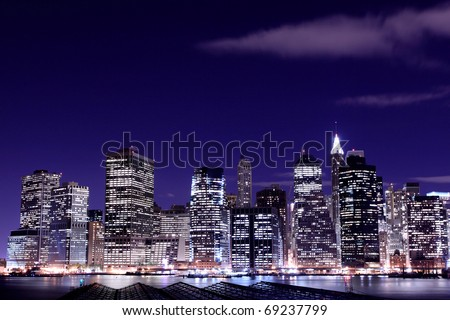 View of Manhattan Skyline from Brooklyn At Night, New York City - stock photo
