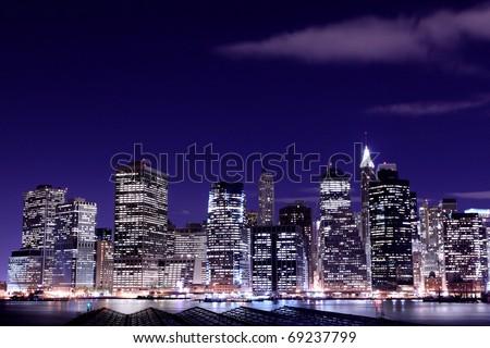 View of Manhattan Skyline from Brooklyn At Night, New York City - stock photo