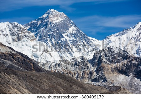 view of Mount Everest, Khumbu valley, Solukhumbu, Sagarmatha national park, Nepal - stock photo