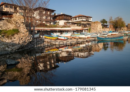 view of Nessebar, ancient city on the Black Sea coast of Bulgaria - stock photo
