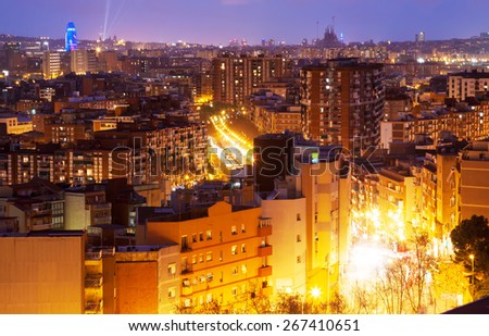 view of night city. Barcelona, Spain - stock photo