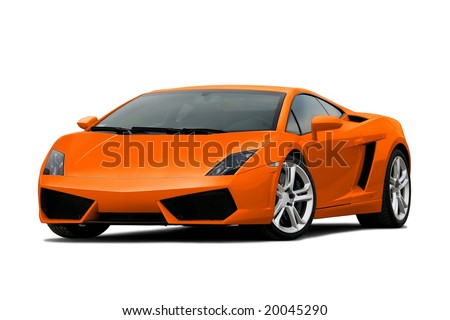 3/4 view of orange supercar isolated on white - stock photo