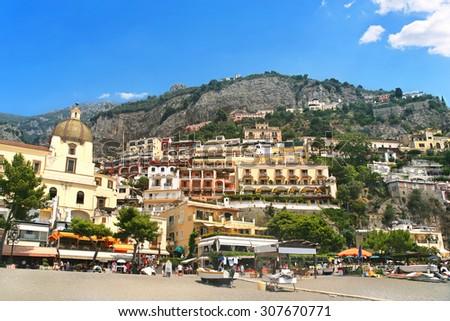 View of Positano village on Amalfi coast, Italy. - stock photo