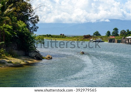 View of Poso River near Tentena.  Central Sulawesi. Indonesia