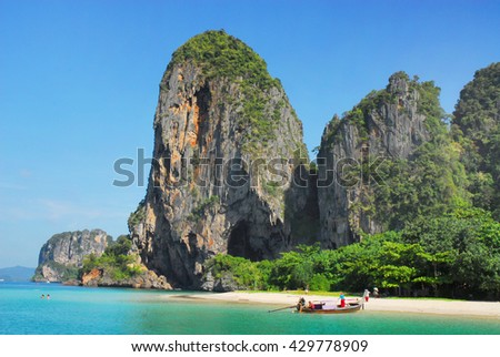 View of Railay Beach in Krabi, Thailand - stock photo