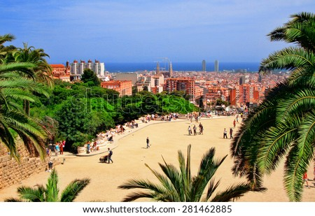 View of Sagrada Familia and port from Park Guell. Barcelona, Spain.  - stock photo