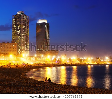 View of Somorrostro Beach in summer evening in Barcelona, Spain - stock photo