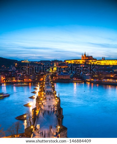 view of spires of the old town from charles bridge 2 - stock photo