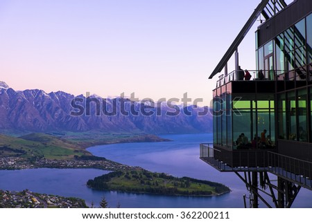 View of  stratosfare restaurant  , Queenstown, New Zealand  in the evening  on 27 October 2015 - stock photo