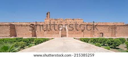"View of the antique palace ""El Badi"" of Marrakech in Morokko - stock photo"