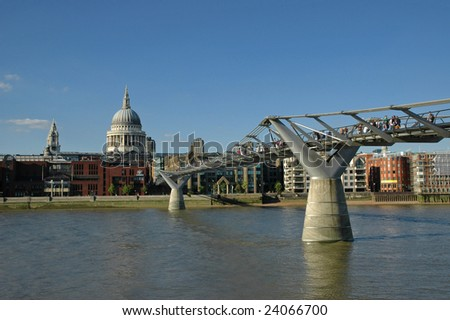 View of the Millennium Bridge and St Paul cathedral - stock photo