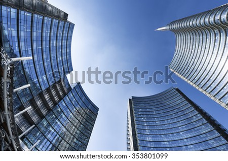 View of the new buildings in the square Gae Aulenti and Corso Como in Porta Nuova area. - stock photo
