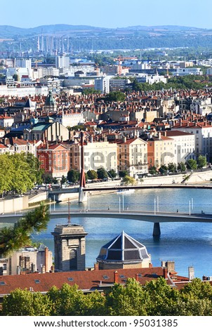 View of the Saone River in Lyon, France