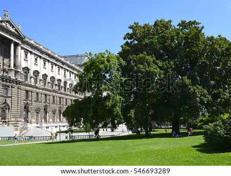 08.08.2016.View on National Library of Hofburg Palace and the Burggarten in Vienna, Austria.