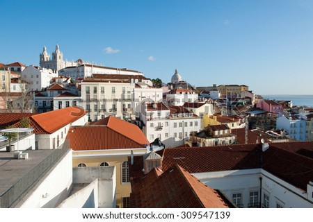 View on the City of Lisbon in Portugal, Church of Santa Engra¡cia ( National Pantheon) and monastery  - stock photo