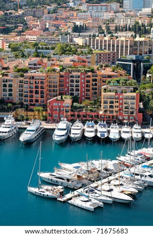 View on top of mooring with yachts and luxury buildings. Monaco - stock photo