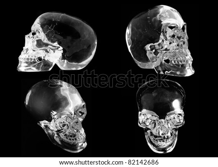 4 views of a crystal skull on a black background