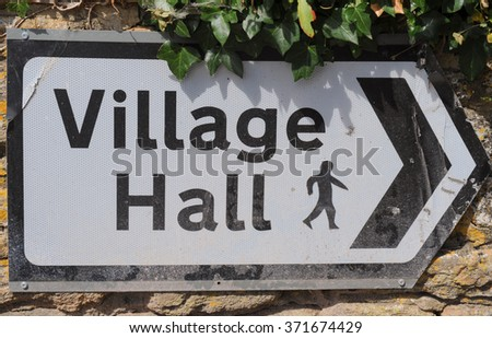 """""""Village Hall"""" Sign in the Rural Village of Montacute in Somerset, England, UK - stock photo"""