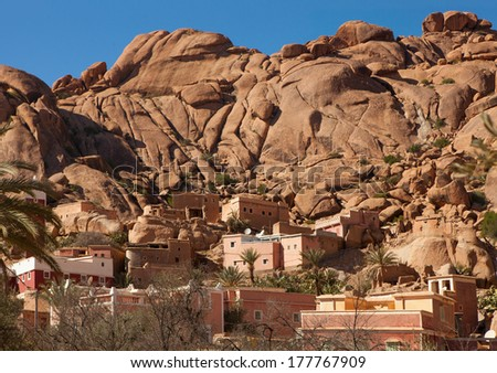 Village     near  Tafraout.      It is located in the Anti-Atlas mountains in southern Morocco. - stock photo