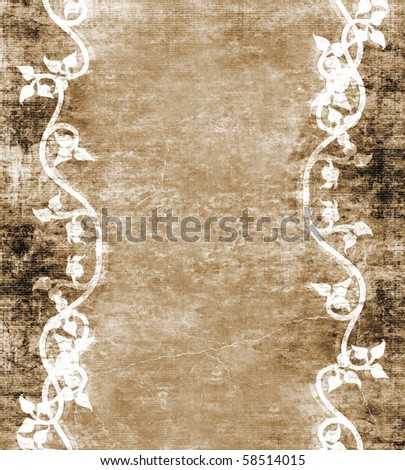 Vines On Vintage Grunge Background - stock photo
