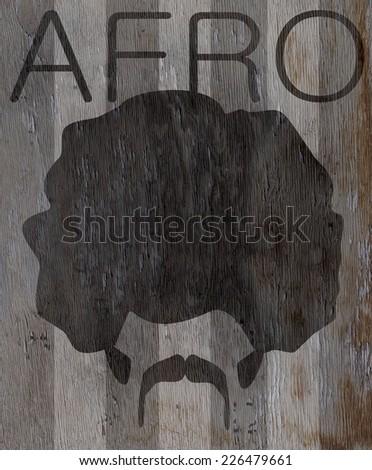 vintage afro design on wood grain texture - stock photo