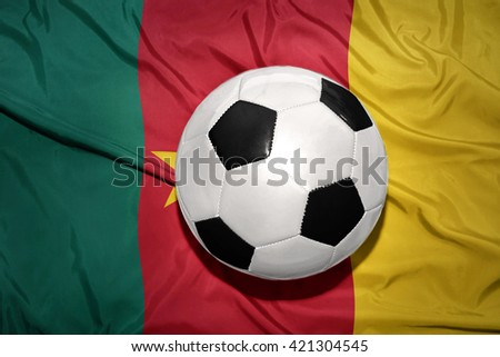 vintage black and white football ball on the national flag of cameroon