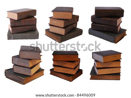 6 vintage book stack isolated on white - stock photo