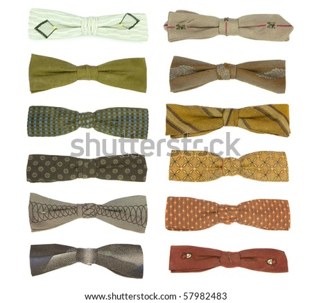 12 vintage bow-ties from the 50's isolated on white. Some of these have aged a little bit - expect moth holes. - stock photo