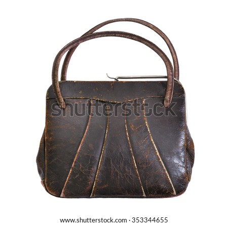 vintage brown leather handbag from the 1950's, isolated on white background - stock photo