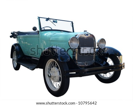 1928 Vintage Car isolated with clipping path
