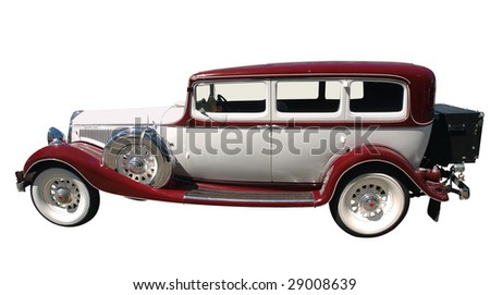 1933 Vintage Car isolated with clipping path - stock photo