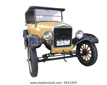 1926 Vintage Car isolated with clipping path - stock photo