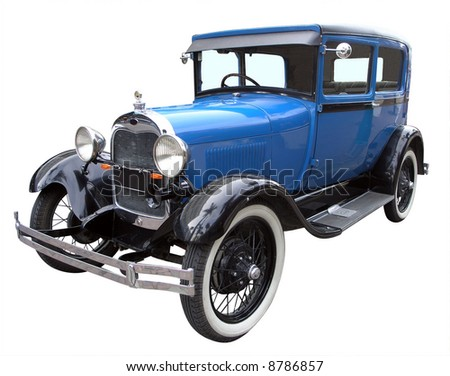 1928 Vintage Car isolated with clipping path - stock photo