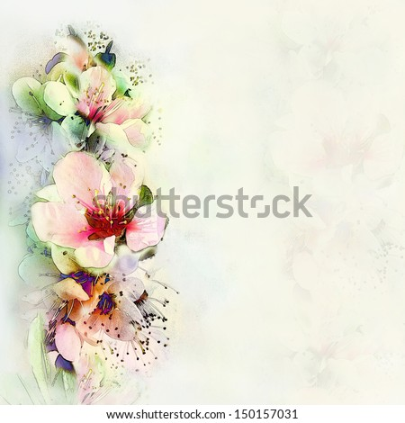 Vintage card with bright spring flowers on hazed light background - stock photo