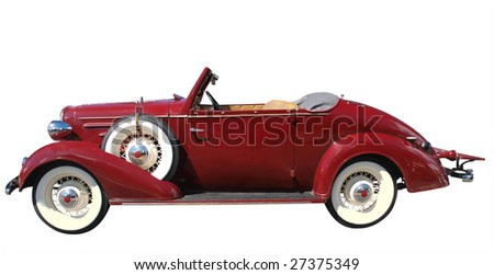 1936 vintage convertible isolated with clipping path - stock photo