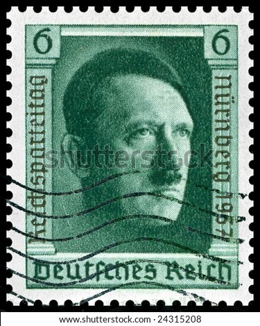 1937 vintage German postage stamp of Adolf Hitler Nuremberg was home of the Nazi rally of 1937 and the first war crimes trials after WW2 - stock photo