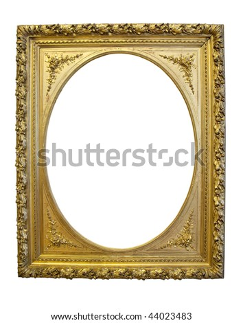 Vintage gold oval picture frame isolated with clipping path over white - stock photo