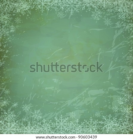 vintage,grunge Christmas background with snowflakes (JPEG version) - stock photo