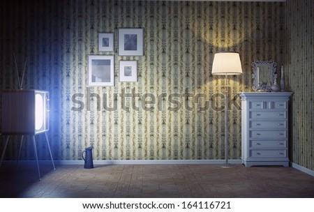 vintage interior  and  retro tv in the dark room - stock photo