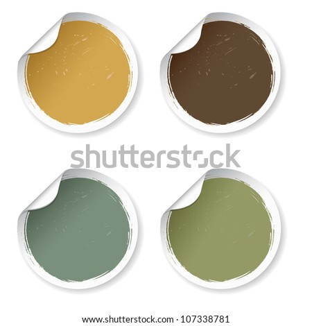 4 Vintage Labels, Isolated On White Background - stock photo