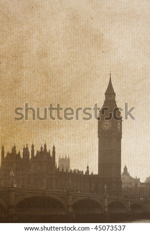 vintage paper textures.  Buildings of Parliament with Big Ben  tower in London UK view from Themes river. - stock photo