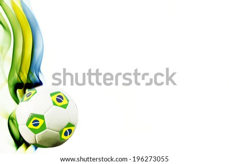 Vintage photo of soccer ball and the colors of the Brazil flag              - stock photo
