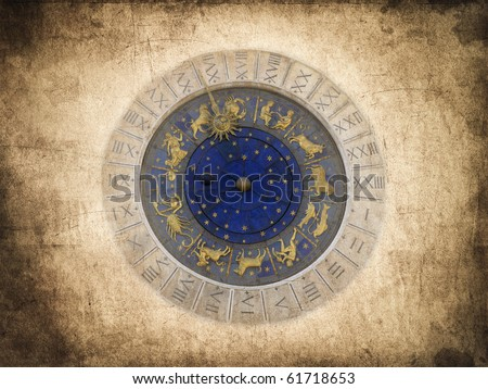 Vintage postcard of the Astronomical clock in Venice, Italy - stock photo