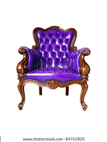 vintage purple leather armchair on white background - stock photo