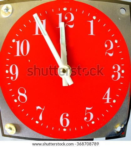 Vintage red  table clock . Time concept - stock photo
