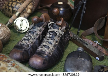 Vintage sports boots - stock photo