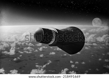 """""""Vintage Style image"""" - Gemini space capsule orbiting earth circa early 1960's. - Artist's Recreation - stock photo"""