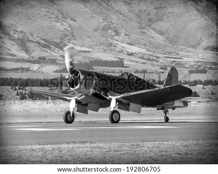 'Vintage Style' image of World of American War 2 fighter aircraft. - stock photo